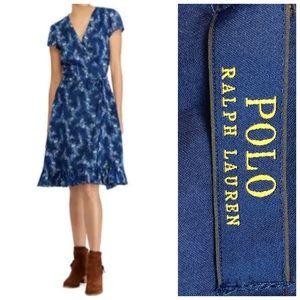 Polo Ralph Lauren Hanah Floral Blue Dress Size 6